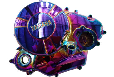 Motor accessories coated in pvd rainbow coating